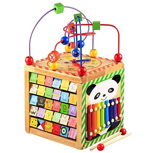 Lewo 6 dans 1 Centres Cube d'activités en Bois Jouet de Premier Age Jeux d'eveil Labyrinthe de Perles Jouet éducatif pour Enfants et Bébés