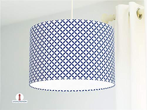 Lampe für Küche mit grafischem Muster in Blau-Weiß aus Baumwollstoff - alle Farben möglich