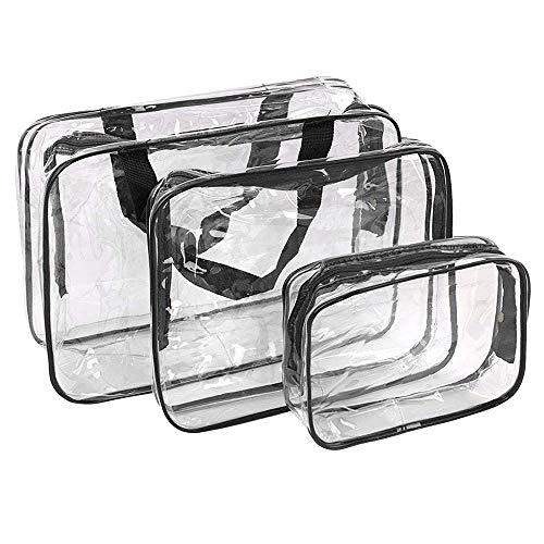 Bolsas de Aseo Transparente Neceser PVC Impermeable Mujer Bolsa de Cosmético Organizador de Viaje 3 Pcs