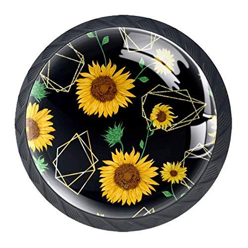 4 pomos para gabinetes de cocina, bonitos tiradores cuadrados de cristal transparente con tornillos para cocina, aparador, armario, baño, armario, ropero, diseño de flores de girasoles
