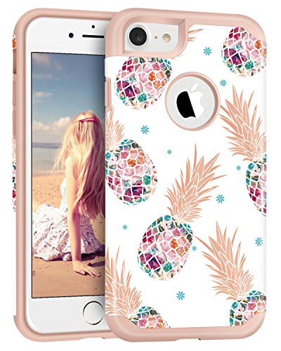 Imikoko iPhone 8 Case Pineapple, Floral Pineapple Heavy Duty Hardshell Protective Case Hard PC Soft Rubber Anti-Scratch Shockproof Protective Case Cover for iPhone 8 4.7'
