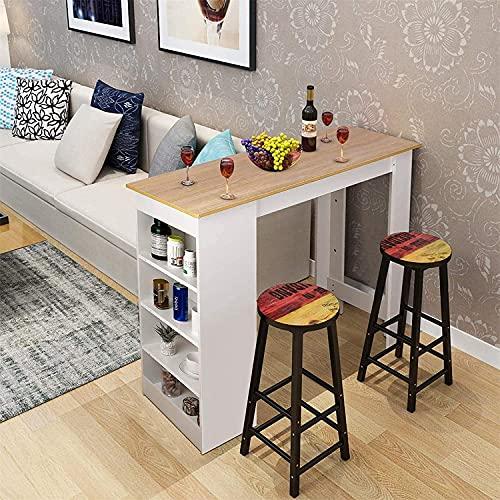Table de bar,Table de haute bar,Table bar Cuisine Rectangulaire avec 4 étagères,Table dappoint en Bois, 112 x 50 x 103,5 cm