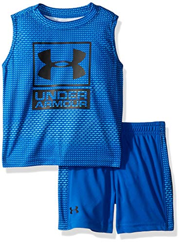 Under Armour Boys' Little UA Muscle Tank and Short Set, Ultra Blue-S19, 4