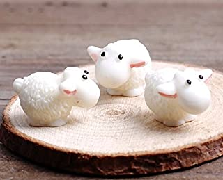 Micro Landscape Design 6 pcs of Miniature Garden Sheep Fairy Garden Animal Ornament Terrarium Supplies (6 pcs)