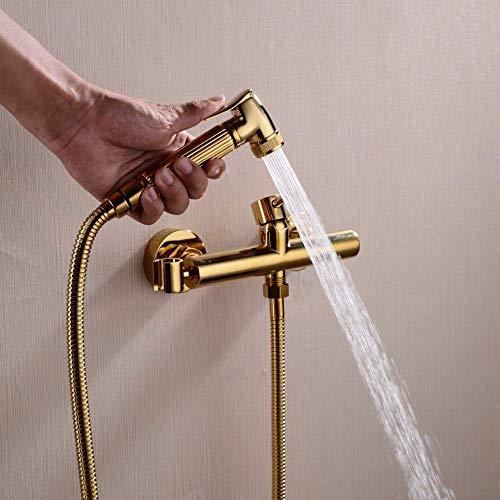 WQERLC Water-Tap - Sistemas de Ducha de Baño Pistola Rociadora de Bidé para Inodoro, Kit de Ducha de Grifo de Bidé Frío Y Caliente de Mano de Oro Montado en la Pared, Grifo de Bidé