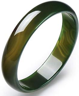 سوار اليشم، أساور للنساء، سوار عقيق أخضر طبيعي، صناعة يدوية، أزياء نولة، تعزيز السحر الشخصي، جلب الحظ الجيد، 60-62 مم-أخضر...