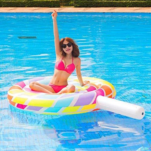 Geng Piscina gonfiabile Forniture piscina galleggiante gonfiabile Lollipop Toy anello di nuoto Estate Swim Water Ring zattera gonfiabile piscina giocattolo ( Color : Multicolor , Size : 220*150*20cm )
