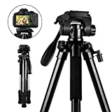 Camera Tripod, SAMTIAN 58inch/147cm Lightweight Aluminum Travel Camera Tripod with 3-Way Swivel Head