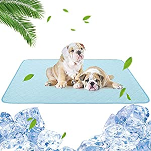 """KOOLTAIL Dog Self Cooling Mat – 47.3"""" X 28.4"""" Transient Cool Feeling Pads, Waterproof Bottom, Washable Reusable Dog Pee Pad for Summer"""