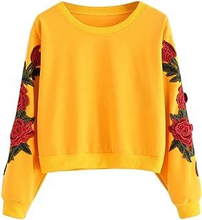Sudaderas Adolescentes Chica,riou Mujer Sudaderas Casual Estampada Bordados Rosa Tops Suéter de Manga Larga Cuello Redondo...