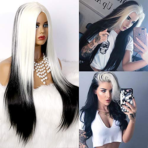 COLODO Wig Syntheyic Lace Front Wig for Women Half Black Half White Long Synthetic Drag Queen Wig Natural Wavy Hair 24 Inch Heat Resistant Cruella Halloween Wig (white and black)