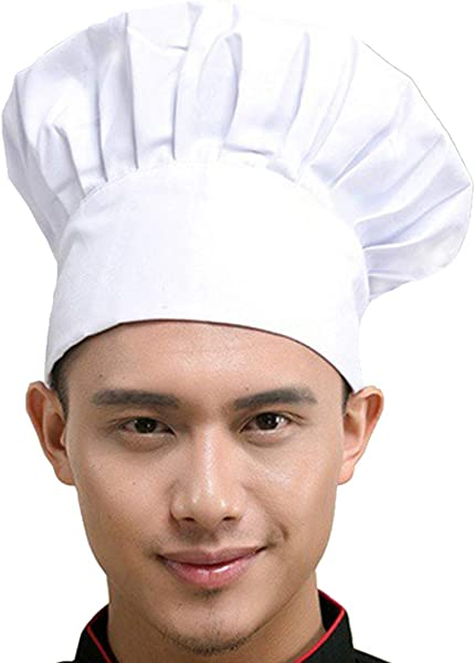 Hyzrz Chef Hat Adult Adjustable Elastic Baker Kitchen Cooking Chef Cap White