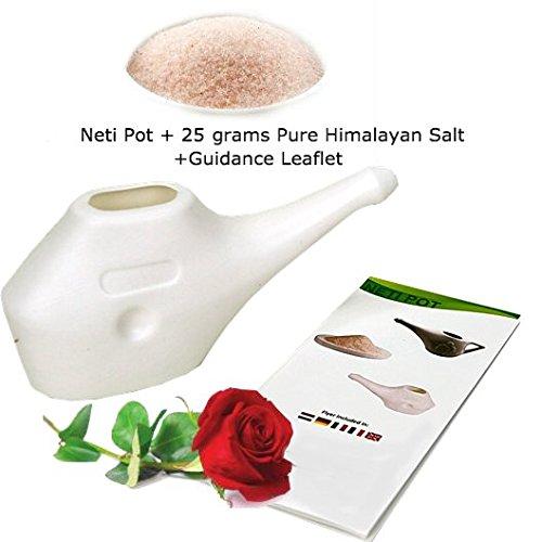 Neti - Olla para limpieza nasal con 25 gramos de sal pura del Himalaya + folleto guía   Yoga Essentials   Ligero e irrompible