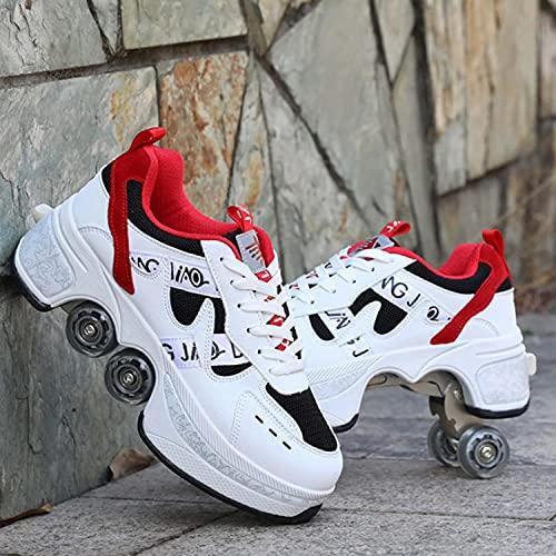 Mrzyzy Patines de Ruedas para Mujeres/niños, Zapatos con Ruedas para niñas, Patines en línea 2 en 1 para niños, Cuatro Zapatos Deportivos Redondos para Exteriores, Zapatos de Skate para Hombres