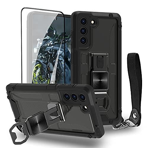 Funda para Samsung Galaxy S21 FE 5G – Funda para teléfono móvil exterior estándar militar resistente a arañazos y huellas dactilares, patrón militar 3D con protector de pantalla, color negro