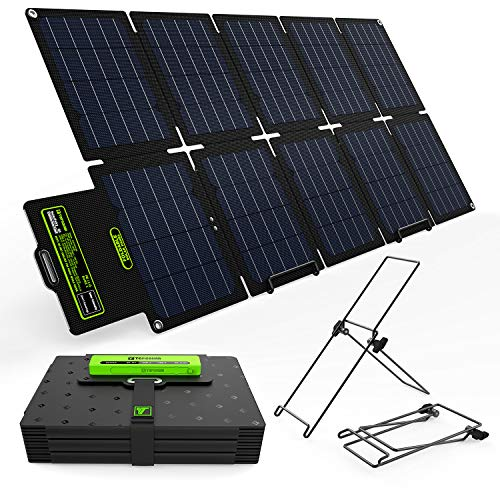 Upgrade Topsolar SolarFairy 60W Portable Foldable Solar Panel Charger Kit Dual USB 5V + 18V DC Output for Portable Generator Power Station Cell Phone Tablet Laptop 12V RV Boat Car Battery