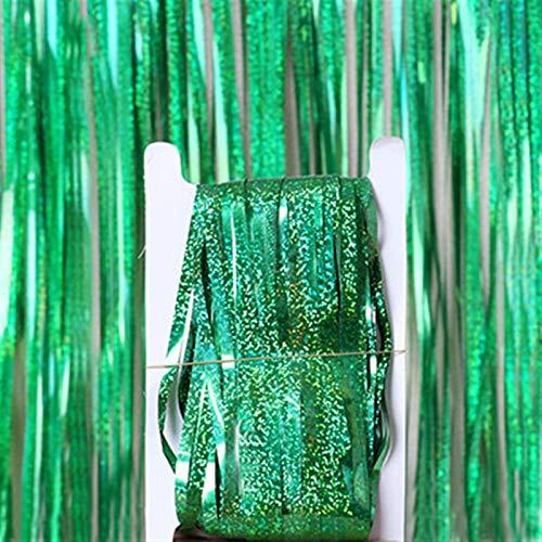 OLDJTK 2m Foto Vorhänge Voilage Mariage Dekoration Geburtstag Party Vorhang Hochzeit Abschluss Dekor Lamellen Vorhang Party Dekoration (Color : Green)