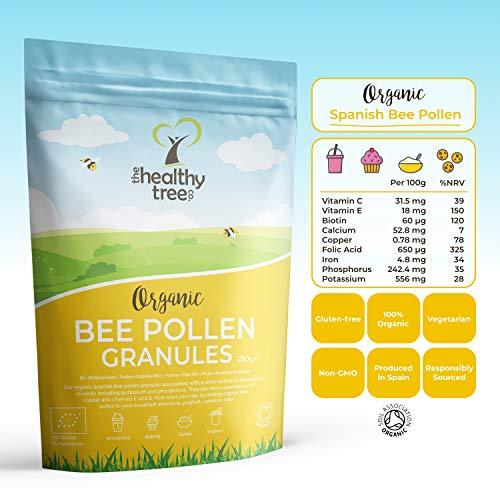 Polline d'Api Spagnole Bio di TheHealthyTree Company - Alto Contenuto di Vitamine B1, B2, B9, C, E e Rame - Polline di Api Crudo Puro della Migliore Qualità (250g)