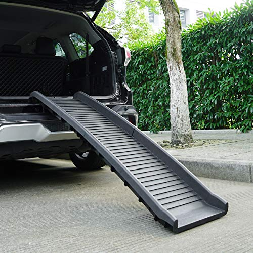 JAXPETY 62 Inches Folding Pet Ramps for SUV Cars Trucks with Non-Slip Surface, Portable Lightweight Bi-fold Dog and Cat Ramp, Black