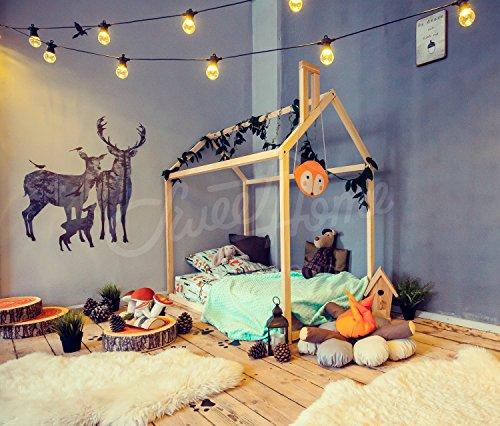 Cama casita con chimenea para colchón de 135 x 190 cm