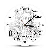 ウォールクロックサーアイザックニュートン有名な英国の数学者物理学者天文学者数学方程式ウォールクロック教育科学アートリビングルームやベッドルームなどのウォールウォッチ