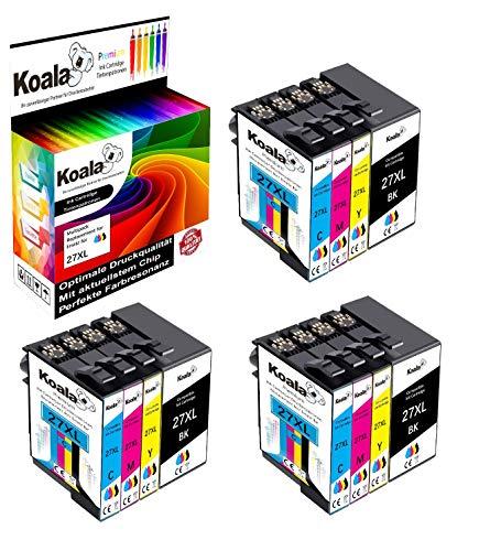 Koala 12 Druckerpatronen kompatibel für Epson 27XL 27 T2711 T2712 T2713 T2714 für Epson Workforce WF-3620 WF-7720 WF-3640 WF-7715 WF-7710 WF-7620 WF-7610 WF-7210 WF-7110 3*BK 3*C 3*M 3*Y