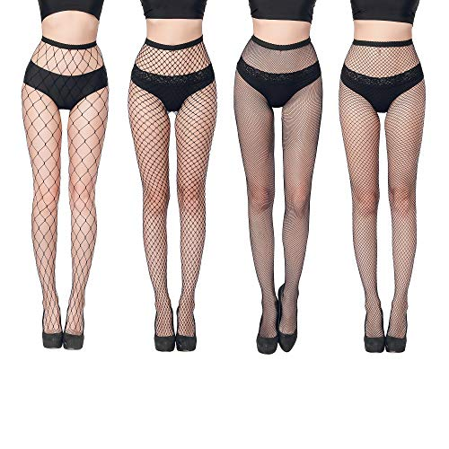 FLORA GUARD Collant a rete da donna, Sexy calze a croce, 4 paia di collant a vita alta con 4 tipi (Nero)