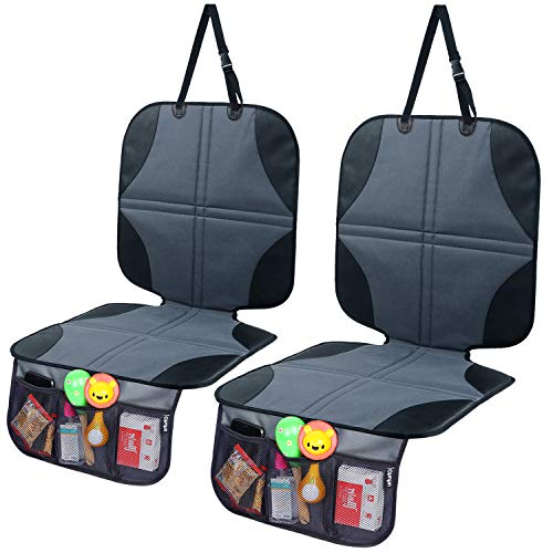 Car Seat Protector for Baby Child Car Seat 2-Pack, Ohuhu Baby Child Carseat Cover with Organizer, Prevents Indentions/Scratches/Scuffs of Leather Seat
