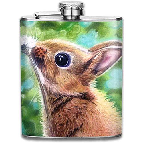 Kaninchen riecht Löwenzahn Mode tragbare 304 Edelstahl auslaufsicher 7 Unzen Topf Flachmann Reisen Camping Flagon Glaskolben kleines Geschenk