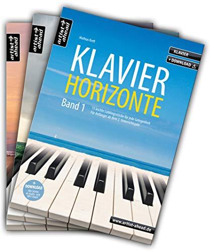 Klavier-Horizonte - Band 1-3 im Set! Entspannte Klavierstücke für jede Gelegenheit, für Piano-Anfänger ab dem 2. Unterrichtsjahr bis zur fortgeschrittenen Mittelstufe (inkl. Download).