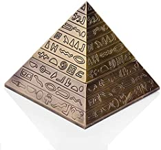Rubbish Bin Ashtray Set Pyramid of ancient Egyptian style metal carving with lid ashtray home decor gift (Color : A),Size:A,Colour:A منفضة سجائر (Color : A, Size : A)