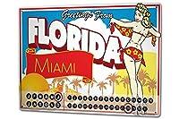 カレンダー Perpetual Calendar Retro Art Metropole Florida greetings Palms girl Tin Metal Magnetic