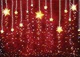 AIIKES 7x5FT Jaune étoile Toile de Fond étincelant Fond Rouge Bébé Nouveau-né Douche Anniversaire Photographie Arrière-Plans Fête de Famille Décoration Photo Booth Studio Props 11-696