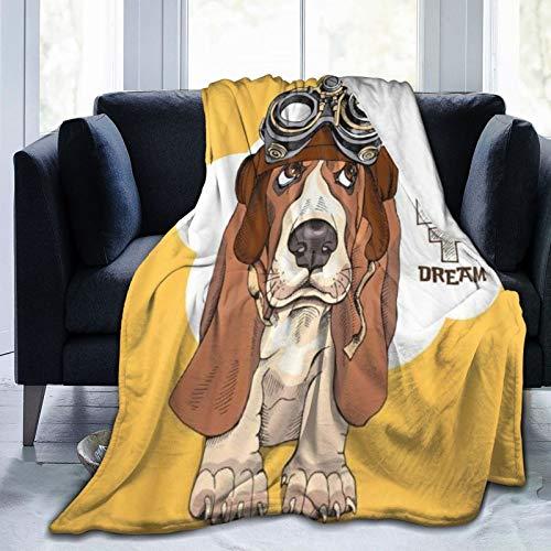 QIUTIANXIU Mantas para Sofás de Franela 150x200cm Retrato de Cachorro Basset Hound en piloto Steampunk Manta para Cama Extra Suave