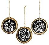 AuldHome Teacher Christmas Ornament Gift Set (3-Piece Set); Wooden Holiday Ornaments for Teachers