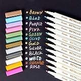 Yosemy Marqueur Métallique Pens, [12 Couleurs] Utilisation sur Papier Verre Plastique Poterie Bois Roche Métal, pour Album Photo Carte DIY Graffiti, Dessin