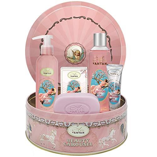 Set Regalo Mujer Flor de Cerezo: 1 gel de ducha/bano de burbujas 250 ml, 1 crema para manos 25 ml, 1 jabón 100 g, 1 loción corporal 200 ml/Libre de parabenos/Hecho en Francia/Regalo Original