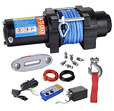 BIZ Tow Recovery Winch 4500lbs Capacity Electric Winch for ATV/UTV/Small SUV or Buggy