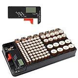 Organizador de batería con comprobador de batería extraíble Sostiene 110 baterías para AAA, AA, 9V, C, D y batería de botón