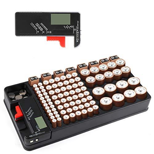 Batterie Aufbewahrungsbox, Batterie-Organizer Box für 110 Batterien unterschiedlicher Größe für AAA-, AA-, 9V-, C-, D- und Knopfbatterien mit Tester für austauschbare Batterien