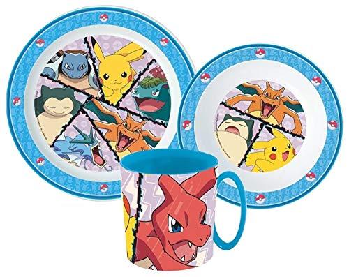 Juego de vajilla infantil de Pokémon con plato, cuenco para cereales y taza.