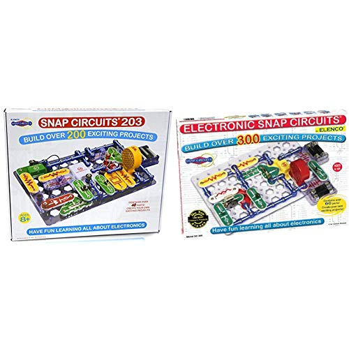 Snap Circuits 203 Electronics Exploration Kit & Classic SC-300 Electronics Exploration Kit   Over 300 Projects   STEM Educational Toy for Kids 8+,Black,2.3 x 13.6 x 19.3 inches