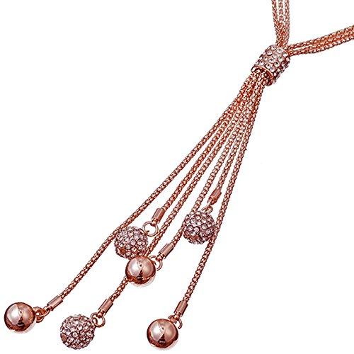 Atemberaubendes Cubic-Zirkonia-Set, lange Kugelperlen-Halskette, Rose-gold, für Damen, Kostüm