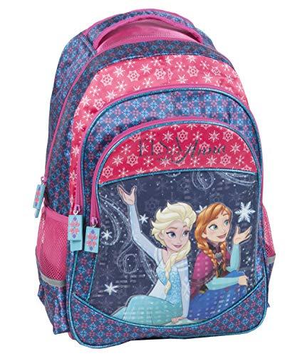 Disney Frozen - Die Eiskönigin ELSA Anna Olaf Rucksack Kinderrucksack (DRF) mit 2 Hauptfächern, Nebenfach und Getränkenetz, 43x30x19 cm, blau/pink