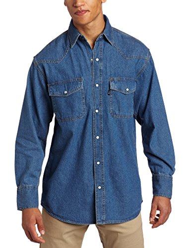 Key Industries Men's Long Sleeve Western Snap Denim Shirt, Large
