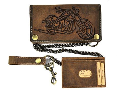 Biker Geldbörse mit Kette und herausnehmbaren Kreditkartenetui echt Leder Portemonnaie Motorrad mit RFID Schutz