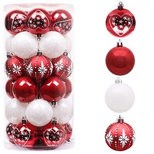 Valery Madelyn 30Pcs Bolas de Navidad de 6cm, Adornos de Navidad para Arbol, Decoración de Bolas Navideños Inastillable Plástico de Rojo y Blanco, Regalos de Colgantes de Navidad (Tradicional)