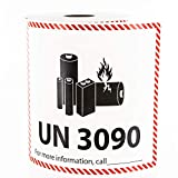 UN 3090 Lithium Battery Handling Labels - 300 Adhesive Labels Per Roll