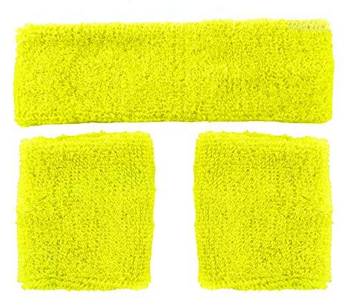 Foxxeo gelbes Schweißbänder Set 80er Jahre Stirnband und 2 Armbänder Party gelb Fasching Karneval