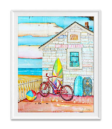 Aint It Fun, Danny Phillips Art Print, Unframed, Beach House Coastal Vacation Retro Vintage Mixed Media Art Wall and Home Decor Poster, 8x10 Inches